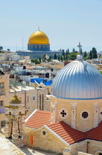 The Dome Of The Rock And The Church Of St. Mary Of Agony In The Old City, Jerusalem, Israel.