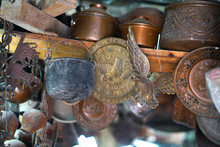 Detail Of Ancient Objects Of Greek And Arabic Origin In An Antique Shop In The Historic Center Of Ioannina, Epirus