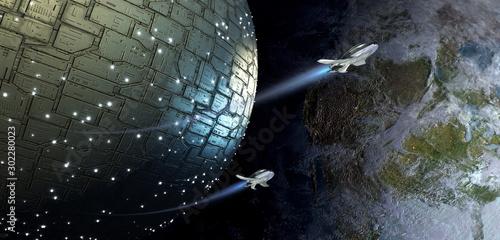 Cuadros en Lienzo Spherical spaceship and drones approaching Earth