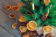 Dried Citrus Slices On The Christmas Tree