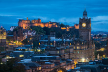 Illuminated Edinburgh Castle And Balmoral Hotel Clock Tower Viewed From Observatory House In City At Dusk, UNESCO, Calton Hill, Edinburgh, Scotland, United Kingdom
