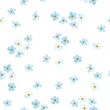 Little Blue And White Flowers Watercolor Painting - Hand Drawn Seamless Pattern With Blossom