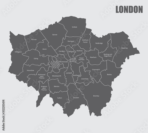 Fotografie, Obraz A London map divided into regions with labels