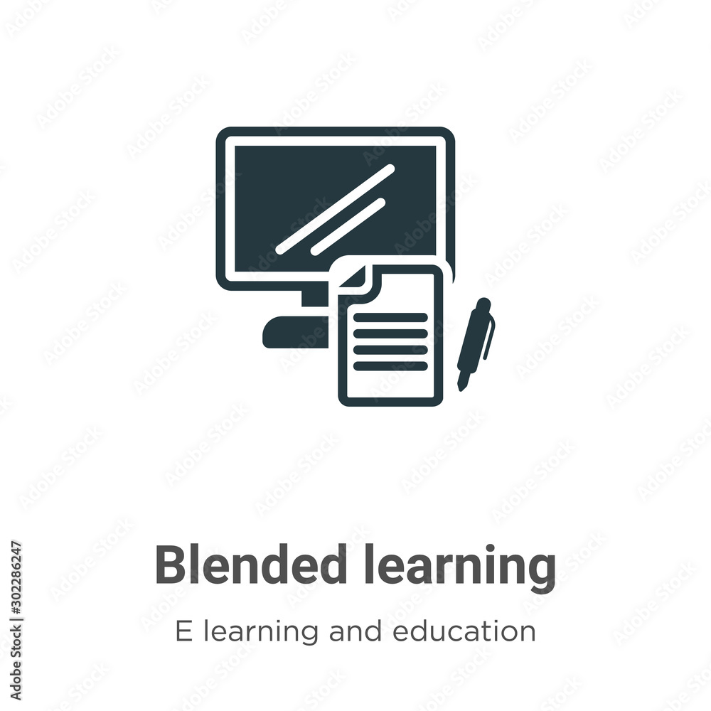 Fototapeta Blended learning vector icon on white background. Flat vector blended learning icon symbol sign from modern e learning and education collection for mobile concept and web apps design.
