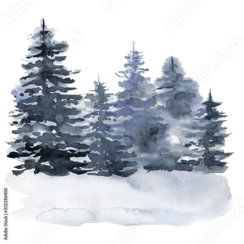 Fond de hotte en verre imprimé Gris Watercolor winter forest. Hand painted foggy fir trees illustration isolated on white background. Holiday clip art for design, print, fabric or background. Christmas card.