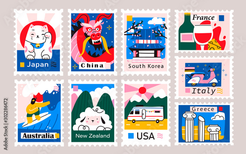 Japan, China, Korea, USA, Italy, France, Greece, Netherlands Fototapet