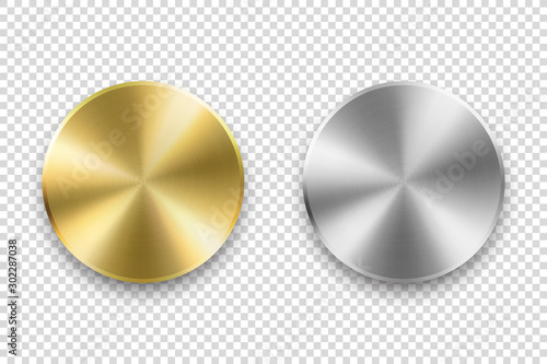 Fototapeta Vector Realistic Metallic Knob. Design Template of Metal Chrome, Steel or Silver Textured Circle Button Closeup Isolated on Transparent Background. Circular processing, Power Volume Playback Control obraz