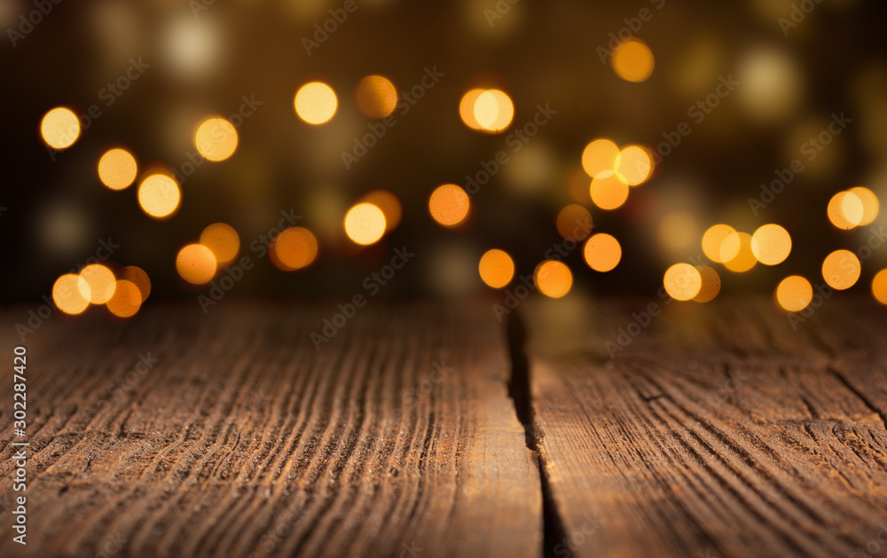 Fototapety, obrazy: Wooden Planks with Bokeh - Christmas Background
