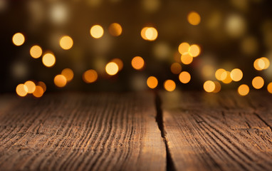 Wooden Planks with Bokeh - Christmas Background