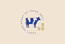 Blue Vector Silhouette Of A Cow On A Light Background. Farm, Natural Products. Emblem Of Butcher Shops. Meat Products. Image Can Be Used For Packaging Design, Restaurant Menu, Market Design.