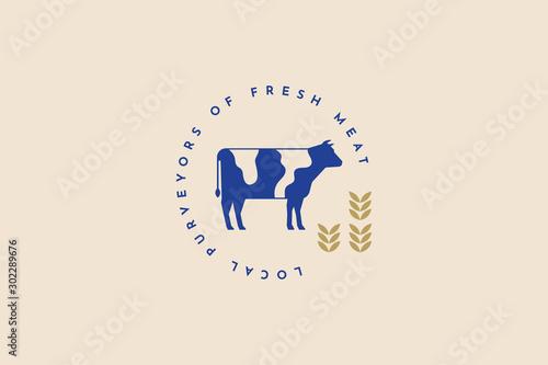 Carta da parati Blue vector silhouette of a cow on a light background