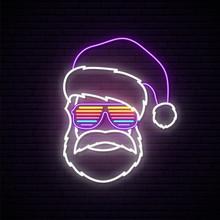 Santa Claus Neon Sign. Hipster...