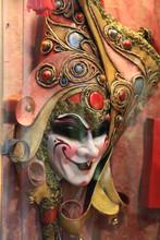 Close Up Of Venetian Mask On Window