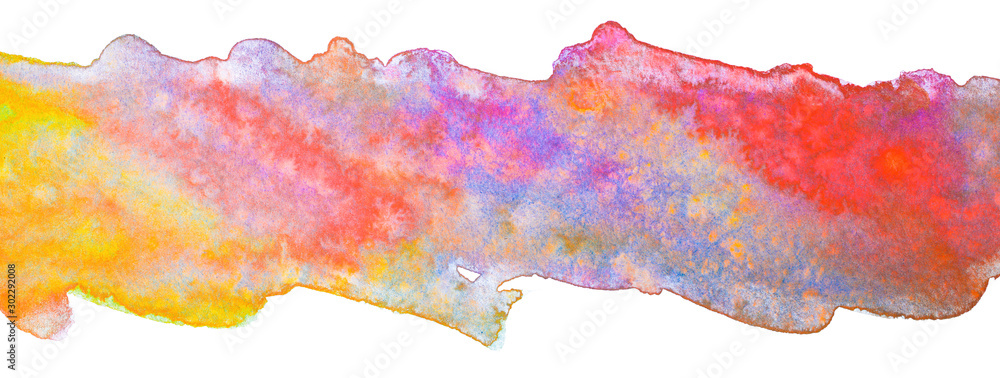 Fototapety, obrazy: multicolor stripe of watercolor, with spots of different colors overflows.