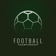 Football Championship Logo. Soccer Ball Dark Green