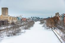 Frozen Canal Klara Sjoe In Stockholm, Sweden