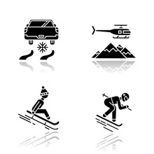 Extreme Winter Activity Drop Shadow Black Glyph Icons Set. Risky Sport Hobby, Adventure. Cold Season Outdoor Leisure And Recreation. Ice Driving And Heli Skiing. Isolated Vector Illustrations