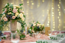Wedding Table With Flowers And...