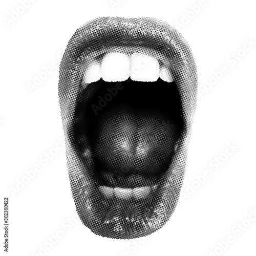 Canvas Print Wide open Halftone Female Mouth. Front view