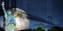 Surreal Digital Art. Manhattan Bridge And Liberty Statue On New York's Cityscape. Giant Moon