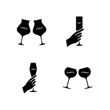 Wine Service Glyph Icons Set. Clinking Glasses Of Wine. Hands Holding Alcohol Beverages. Celebration, Party. Wedding. Glassware, Winery. Cheers. Silhouette Symbols. Vector Isolated Illustration