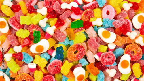 Assorted gummy candies. Top view. Jelly  sweets. Fototapet