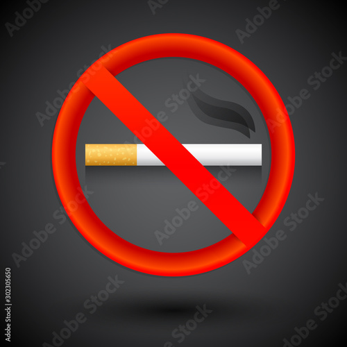Photo No Smoking Elegant realistic sign vector illustration.