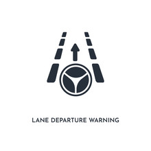Lane Departure Warning Icon. Simple Element Illustration. Isolated Trendy Filled Lane Departure Warning Icon On White Background. Can Be Used For Web, Mobile, Ui.