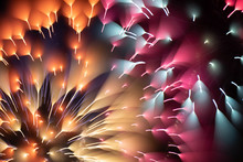 Bright Fireworks On Night Sky