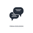forum discussion icon. simple element illustration. isolated trendy filled forum discussion icon on white background. can be used for web, mobile, ui.