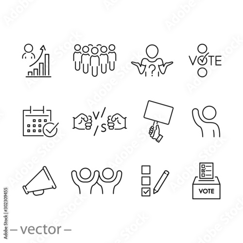 Photo vote poll icon set, government congress election, democracy concept,  outline po