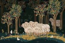 Parable Of The Lost Sheep. Illustration In Medieval Tapestries Style