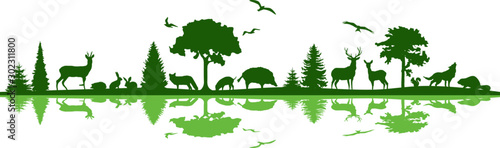 Wild Animals Forest Landscape Vector Silhouette Canvas Print