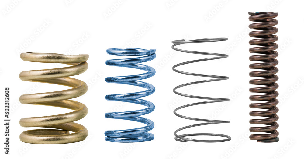 Fototapety, obrazy: Four steel compression coil springs with varied surface finish isolated on white background. Springy metallic machine parts. Set of different flexible elastic shock absorbers with spiral wire winding.