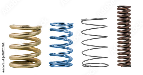 Vászonkép Four steel compression coil springs with varied surface finish isolated on white background