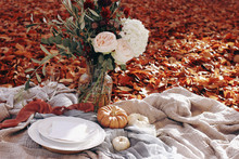 Autumn Wedding Table Setting. ...