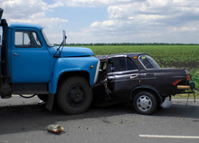 Consequences Of A Car Accident, A Wrecked Car. Road Traffic Accident.