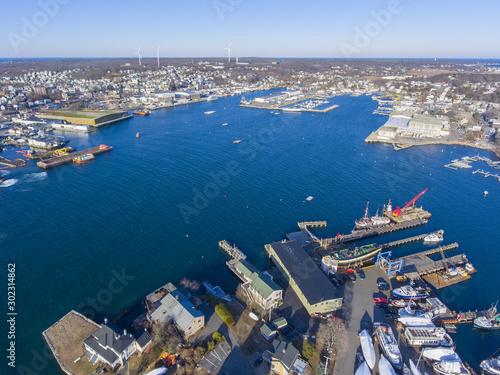 Fototapeta Aerial view of Gloucester City and Gloucester Harbor, Cape Ann, Massachusetts, MA, USA