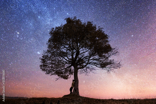 Stampa su Tela  Silhouette of tourist sitting under majestic tree at evening mountains meadow at sunset