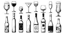 Different Bottles With Alcohol And Different Glasses. Vector Illustration