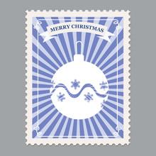 Merry Christmas Retro Postage Stamp With Christmas Ball