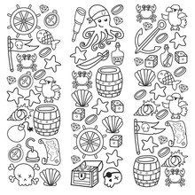 Doodle Pirate Elememts, Vector Illustration.