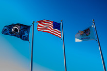P.O.W., United States, And Illinois Flag Flying At Veteran's Memorial In Alexis, Illinois