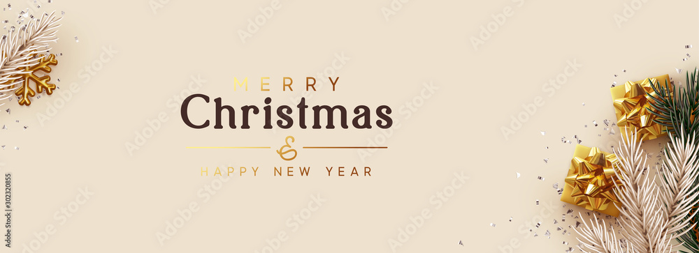 Fototapety, obrazy: Merry Christmas, Happy New Year. Greeting card, Xmas banner, horizontal header for website, web poster. Realistic gift boxes, pine and fir branches. gold snowflake, silver confetti, beige background