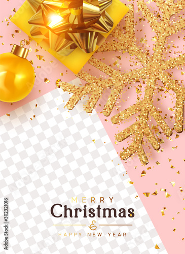 Merry Christmas and Happy New Year. Festive template covers, social media story, social networks. Greeting card, Xmas banner, web poster. Realistic gift boxes, glitter golden snowflake. Yellow balls