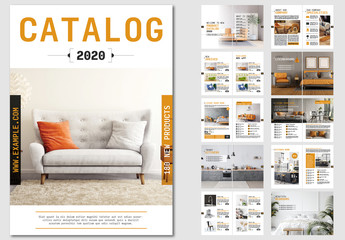Fototapeta na wymiar Product Catalog Layout with Orange Accents