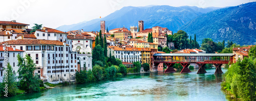 Fotografia, Obraz  Beautiful medieval towns of Italy -picturesque  Bassano del Grappa