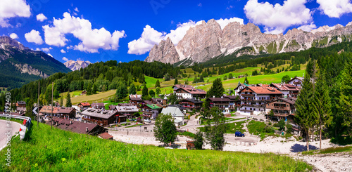 Breathtaking Alpine scenery, Dolomite mountains. beautiful Cortina d'Ampezzo village, famous ski resort in northern Italy