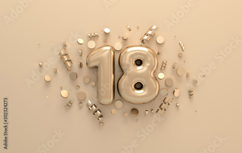 Photo Golden 3d number 18 with festive confetti and spiral ribbons
