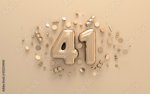 Papel de parede Golden 3d number 41 with festive confetti and spiral ribbons